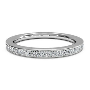 Round Solid 14K White Gold 0.20 Ct Moissanite Eternity Anniversary Band Size 6 7