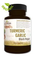 Turmeric, Garlic & Black Pepper 120 Capsules - Organic Curcumin Piperine 500 mg