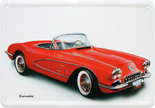 CARTE POSTALE en tôle/métal Corvette US DREAM voiture rouge Cabriolet 10cm X14
