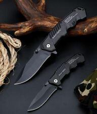 Couteau de poche chasse Noir pliant Lame tactique survie militaire version 1
