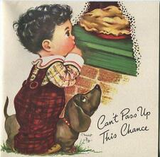 VINTAGE CUTE BOY HOME MADE APPLE PIE BASSET HOUND DOG BDAY GREETING CARD PRINT
