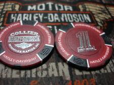 Red & Black #1 Poker Chip Collier Harley Davidson Roanoke Rapids, NC