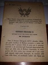 DECRETO 1873 riord PENSIONI IMPIEGATI OPERE PIE MODENA e di REGGIO EMILIA