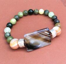 Connemara marble Scottish and grey banded agate bracelet. Irish Jewelry Celtic
