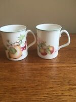Vintage Royal Doulton ASHBERRY Mugs; Set of 2 (Pear & Apple); FREE SHIP