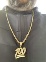 Men's New Gold Plated Emoji 100 Iced Out Pendant Diamond Rope Chain Necklace