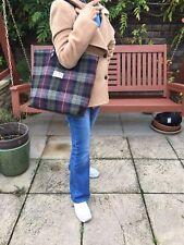 Red black green Harris tweed bag tote gift for woman Scottish tartan handbag