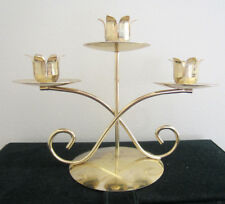 "Vintage Brass Candleholder for Three Candles 6"" Tall"