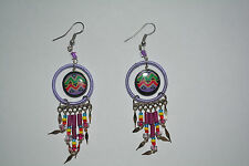 1 x pair ceramic  inca design earrings handmade lilac alpaca silver