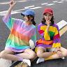Women Rainbow Cotton T-shirt Loose Casual Cute Short Sleeve Top Fashion Harajuku