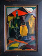 Kubismus Künstler J.M. signiert 1956 Öl-Stilleben Pfeife Ascher Südesee-Skulptur