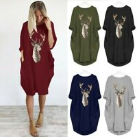 Femmes à manches longues Pocket Christmas Robe Loose Hauts Antlers Mini Robe