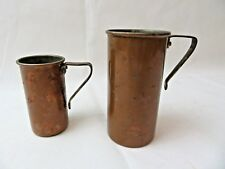 Antique copper and brass 1 cup and 1/2 cup kitchen measuring cups