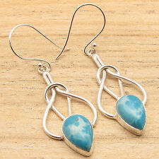 Simulated  LARIMR Drop Handmade Design Jewelry Earrings 925 Silver Plated