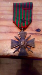 French Forces /legion Ww1 Croix De Guerre Dated 1914-1918 With Commendation Star