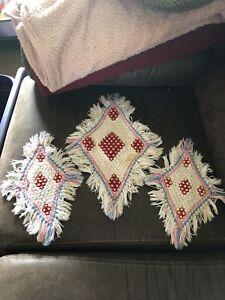 3 Vintage Crocheted Doilies Diamond Shape Multi Colored