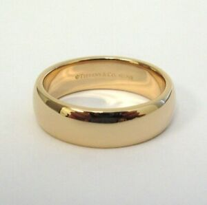 TIFFANY & Co. Classic 18K Rose Gold 6mm Lucida Wedding Band Ring 8 $1,600