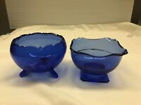 Smith Glass MT PLEASANT Cobalt Blue Round Bowl 3 Toed And Square Footed Bowl