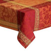 """Thanksgiving Fabric Tablecloth Montvale Gold Festival Fall Leaves 70"""" Round"""