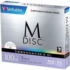 Verbatim Blu-ray M-Disc BD-R XL 100GB 4xSpeed Inkjet Printable Pack 5 W JAPAN