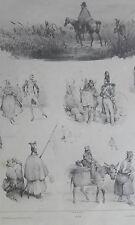 Armée grognard soldat ane Victor ADAM GRAVURE originale XIXéme