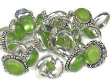 Beautiful !! Lot 20 PCs. Green PERIDOT Gemstone 925 Sterling Silver Plated Ring