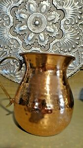 Vintage Hammered Copper And Brass Pitcher