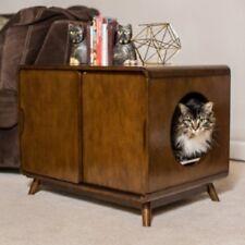 Cat Litter Box Wood Modern Two Sliding Doors Walnut Finish Pet Kitty Furniture