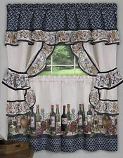 3 Pc Kitchen Curtains Tailored Cottage Set, WINE & GRAPES, CHATEAU by Achim