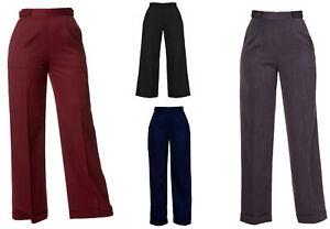 New VTG Wartime 1920s 1930s 1940s Style Wide Leg High Waist Swing Trousers