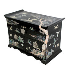 Mother of Pearl Black Lacquer Wood Jewelry Drawer Trinket Keepsake Treasure Box