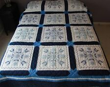Amish Handmade Patchwork Ouilt from Lancaster Pa Spring Tulip Embroidered 99x101
