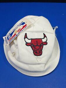 Rare Vtg Chicago Bulls Infant Baby Cap Hat White Bulls Logo Grossman Cap Co.