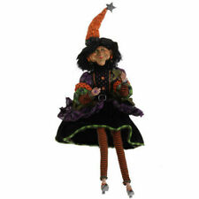 "H3104014 Retired Raz 21"" Sitting Witch Halloween Orange Hat Black Stripe Sock"