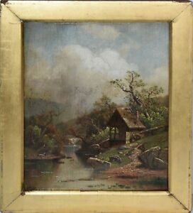 William Sheridan Young Signed Antique Oil Painting-Riverside Landscape/Watermill