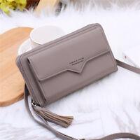 Women PU Leather Clutch Envelope Wallet Long Card Holder Purse Shoulder Bag WE