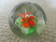 Paper Weight Glass Flower Orange Red Bubble Heavy Gorgeous