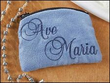 Ave Maria Blue Cloth Rosary Case NEW SKU KC651