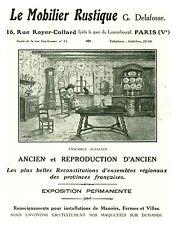 Publicité ancienne mobilier rustique G. Delafosse 1929 issue de magazine