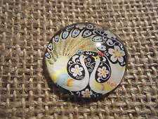1 30mm Round Glass Cabochon Tempered Stone Domed Quirky Design Black Peacock