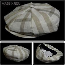 NEW KHAKI PLAID 8 1/4 APPLEJACK NEWSBOY CABBIE IVY SNAP BRIM HAT CAP MADE IN USA