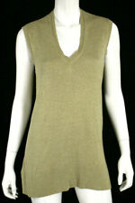 LORO PIANA Oatmeal Beige Silk V-Neck Sleeveless Knit Top 46