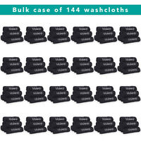 Bulk Wholesale Case of 144 Makeup Remover Towels Black Cotton Embroidered 13x13