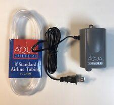 Aqua Culture Fish Aquarium Air Pump 5-15 Gallon Tank and Single Outlet 8' Tubing