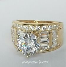 5.5 crt Solid 14k yellow Gold round  Man Made Diamond Engagement Wedding Ring 7