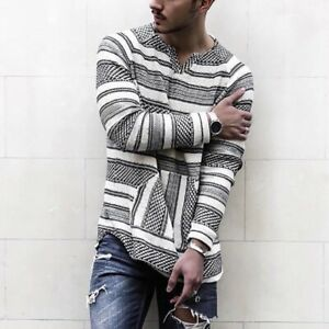 Men's Shirts V-Neck Casual Loose Personality Stripe Simplicity Long Sleeve
