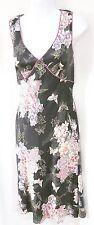 CITRINE Canada Black & Fuchsia Silk Floral Print Sleeveless Sundress SIZE 8