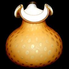 Vintage Antique Stevens & Williams Large Amber Mop Raindrop Vase Butterscotch