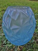 ancien vase-pot-en pâte de verre- bleu-art déco-géode-motifs géométriques