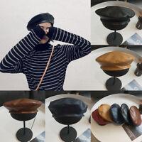 Womens Vintage dames simili cuir PU béret chapeau Français Cap hivBB